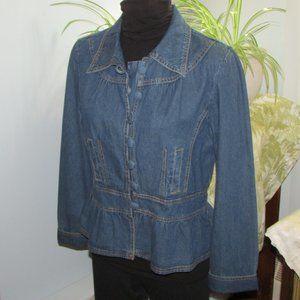 TOGETHER Peplum Denim Jacket Size 12 1990's